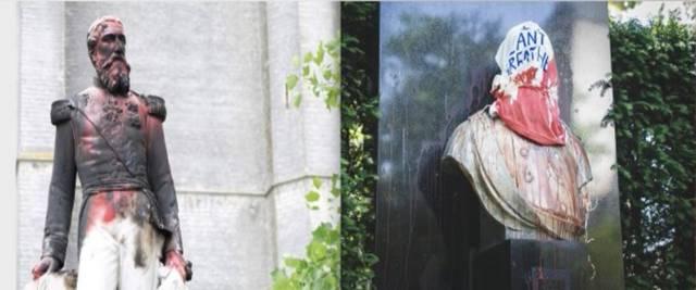 Bruxelles, imbrattata statua ex re Leopoldo II
